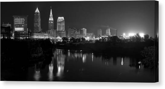 A Hazy Cleveland Night At Progressive Field Canvas Print