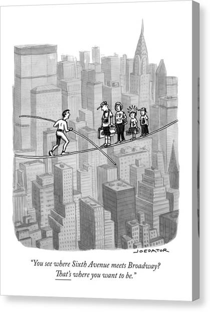 Rope Canvas Print - You See Where Sixth Avenue Meets Broadway by Joe Dator