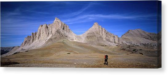 Teton National Forest Canvas Print - A Hiker Walks Across High Tundra by David Stubbs