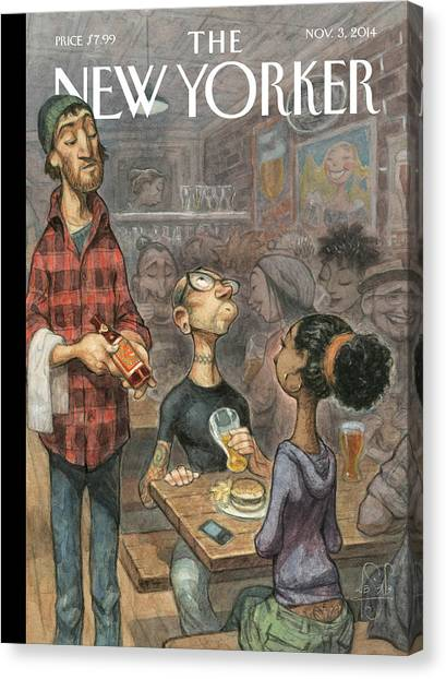 Craft Beer Canvas Print - A Hipster Samples Craft Beer by Peter de Seve