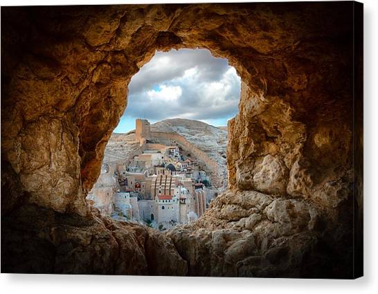 Monastery Canvas Print - A Hole In The Wall by Ido Meirovich