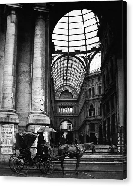 Neoclassical Art Canvas Print - A Horse And Cart By The Galleria Umberto by Robert Randall