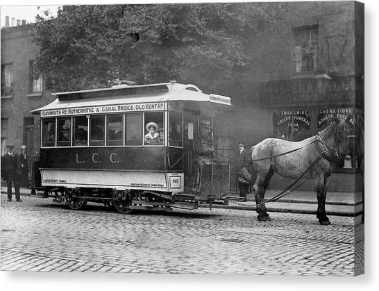 Undertaker Canvas Print - A Horse-drawn Tram In South  East London by Mary Evans Picture Library