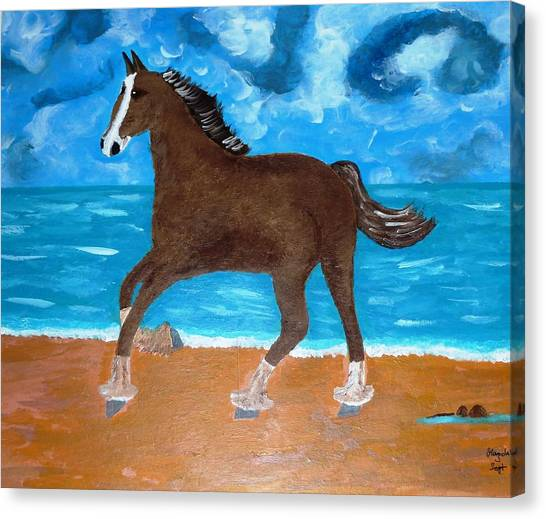 A Horse On The Beach Canvas Print