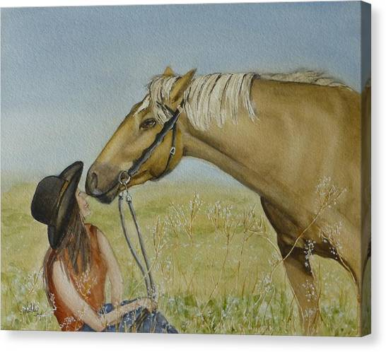 A Horses Gentle Touch Canvas Print