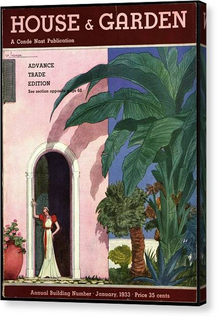 Banana Tree Canvas Print - A House And Garden Cover Of A Woman In A Doorway by Georges Lepape