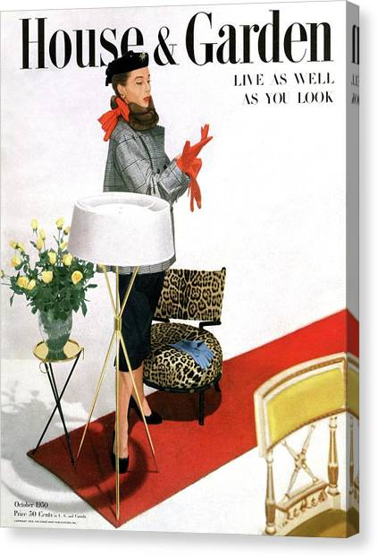 A House And Garden Cover Of A Woman With A Lamp Canvas Print by Horst P. Horst