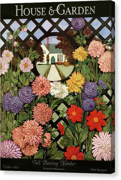 Trellis Canvas Print - A House And Garden Cover Of Flowers by Ethel Franklin Betts Baines