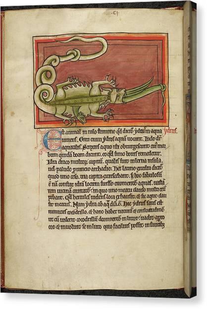 Crocodiles Canvas Print - A Hydra Swallowed By A Crocodile by British Library