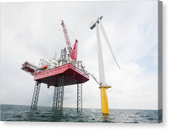 Installation Art Canvas Print - A Jack Up Barge Fitting Wind Turbines by Ashley Cooper