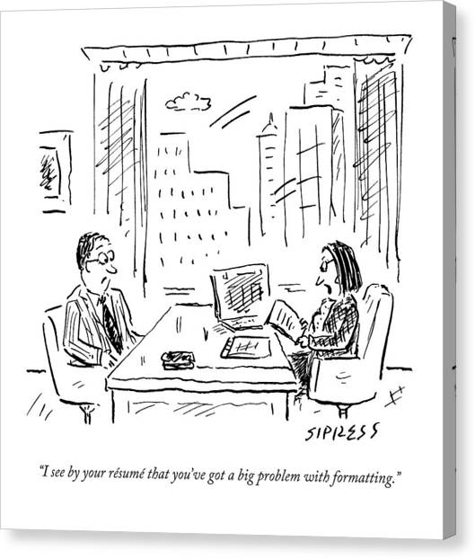 A Job Interviewer Says To A Job Applicant Canvas Print