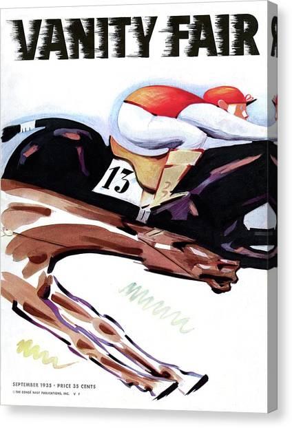 A Jockey And Horse Canvas Print by Charlot