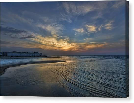 a joyful sunset at Tel Aviv port Canvas Print