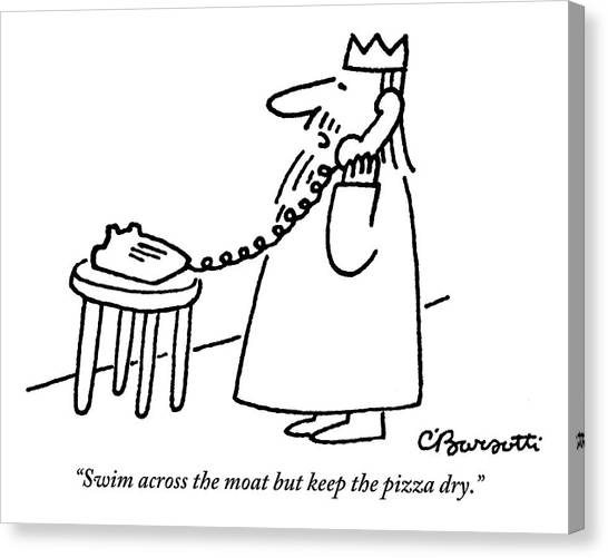 Pizza Canvas Print - A King Gives Instructions On The Telephone by Charles Barsotti