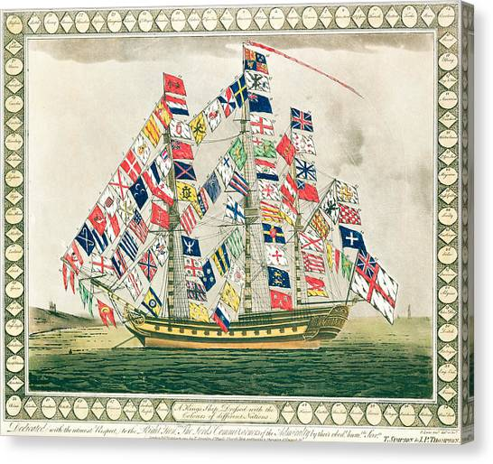 Royal Marines Canvas Print - A King S Ship Dressed With The Colours Of Different Nations 6th October 1794 by English School
