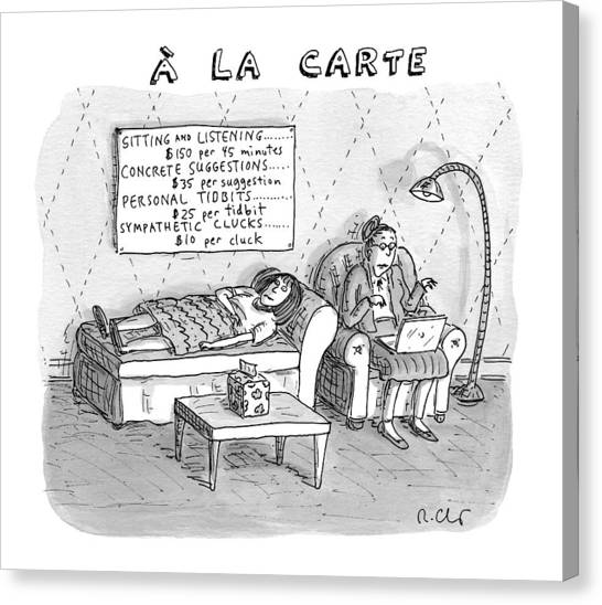 A La Carte -- Therapy Where A Placard Lists Canvas Print