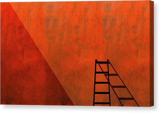 Shadows Canvas Print - A Ladder And Its Shadow by Inge Schuster