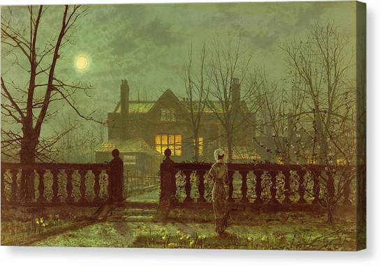 Haunted House Canvas Print - A Lady In A Garden By Moonlight by John Atkinson Grimshaw