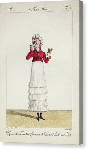 Fashion Plate Canvas Print - A Lady In A Levantine Hat by Antoine Charles Horace Vernet