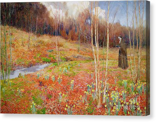 Nuns Canvas Print - A Landscape In Spring With A Nun by John George Sowerby