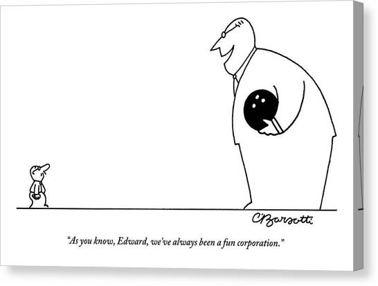 Bowling Ball Canvas Print - A Large Man Dressed In A Suit And Carrying by Charles Barsotti