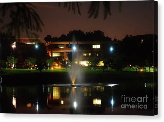George Mason University Mason Canvas Print - A Lighted Fountain by Melissa Thayer