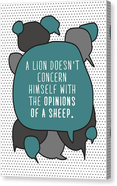 Fitness Canvas Print - A Lion Doesnt Concern Himself With The by Orange Vectors