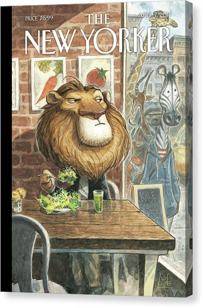 Meat Canvas Print - A Lion Eats At A Vegetarian Restaurant by Peter de Seve