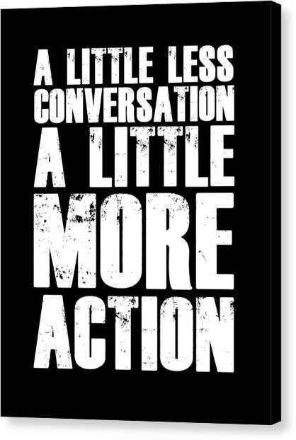 Hips Canvas Print - A Little More Action Poster Black by Naxart Studio
