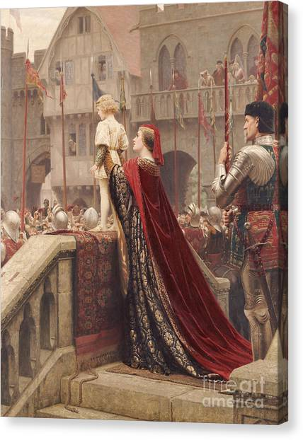 Royal Guard Canvas Print - A Little Prince Likely In Time To Bless A Royal Throne by Edmund Blair Leighton