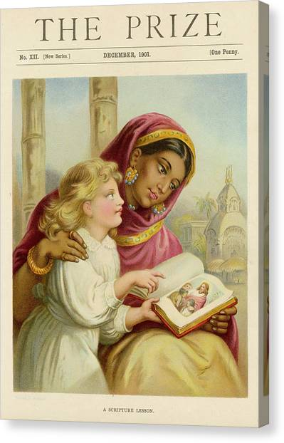 A Little White Girl Teaches An  Asian Canvas Print by Mary Evans Picture Library