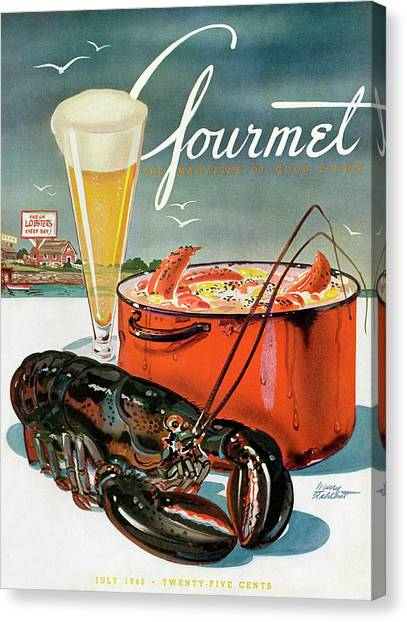 Seafood Canvas Print - A Lobster And A Lobster Pot With Beer by Henry Stahlhut