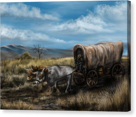 A Long Journey - Covered Wagon On The Prairie Canvas Print