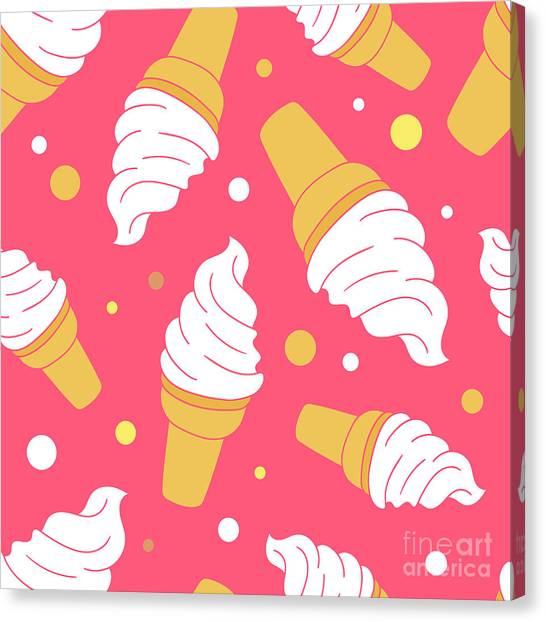 A Lot Of Ice Cream Hand Drawn Canvas Print by Talirina