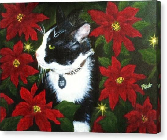 Tuxedo Cat Trouble  Canvas Print