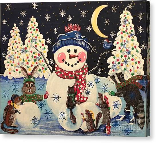 A Magical Night In The Snow Canvas Print