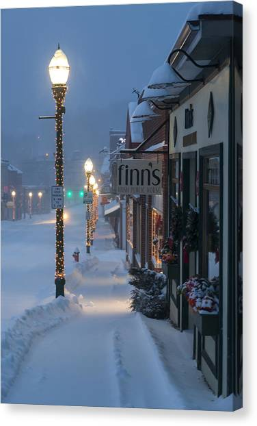 A Maine Street Christmas Canvas Print