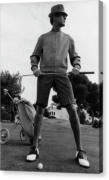 Arnold Palmer Canvas Print - A Male Model Posing As A Golfer Wearing by Leonard Nones