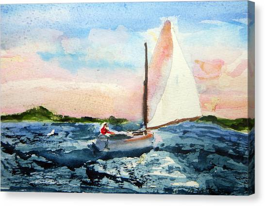 A Man And His Boat Canvas Print