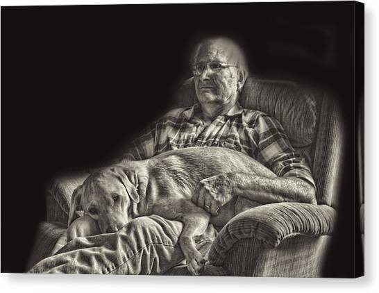 A Man And His Dog Canvas Print by Linda Phelps