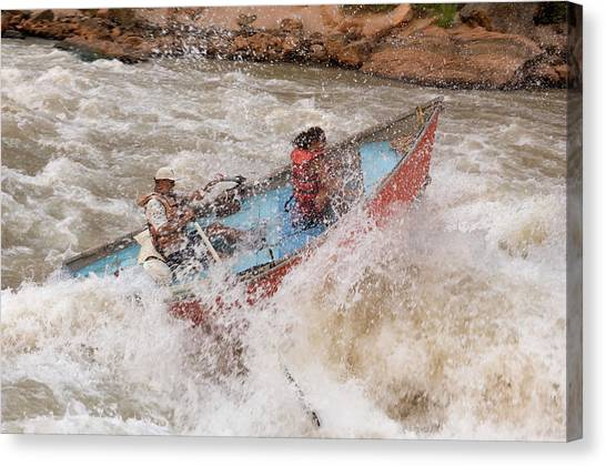 Colorado Rapids Canvas Print - A Man And Woman Get Pushed by Peter McBride