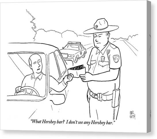 Police Officers Canvas Print - A Man Attempts To Bribe A Traffic Police Officer by Paul Noth