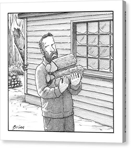 Log Cabin Canvas Print - A Man Carries Firewood Back To His Cabin by Harry Bliss