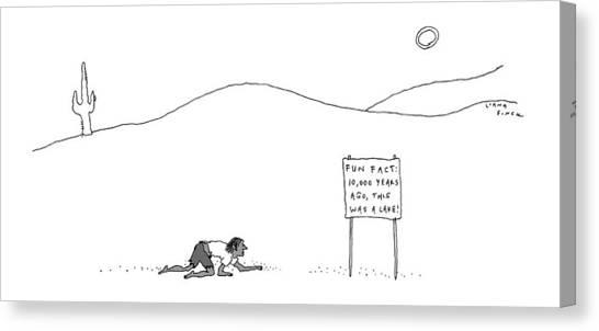 A Man Crawling Through The Desert Nears A Sign Canvas Print