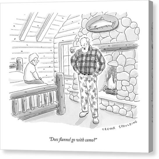 Camouflage Canvas Print - A Man In A Log Cabin Wears A Flannel Shirt by Trevor Spaulding