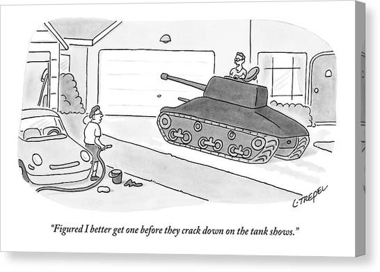 Gun Control Canvas Print - A Man In A Tank Pulls Into His Driveway by Larry Trepel