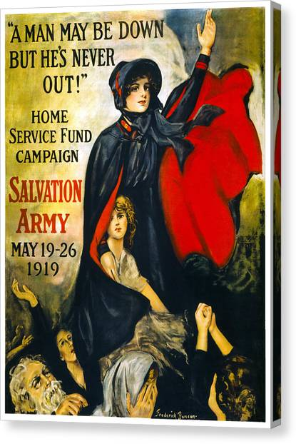 Salvation Army Canvas Print - A Man May Be Down . . .   1919 by Daniel Hagerman