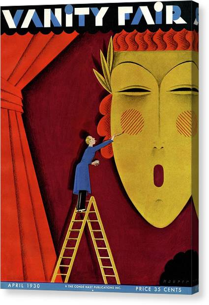 Vanity Fair Cover Of A Man On A Ladder Canvas Print by Maurer