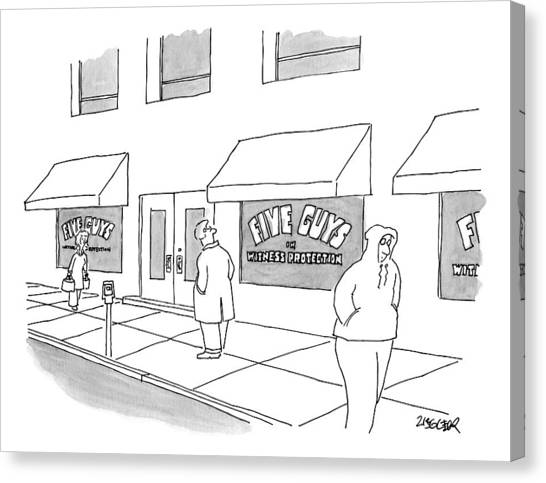 Fbi Canvas Print - A Man On The Sidewalk Notices The Storefront by Jack Ziegler
