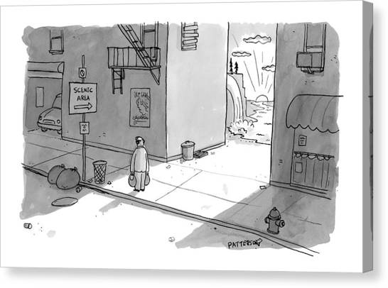 City Landscape Canvas Print - A Man Passing An Alley With A Sign Pointing by Jason Patterson
